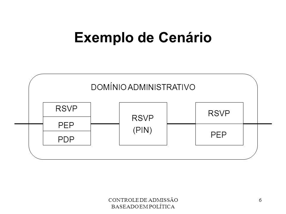 CONTROLE DE ADMISSÃO BASEADO EM POLÍTICA 7 Requisitos do Protocolo PEP-PDP Confiabilidade Atrasos limitados (requisitos de tempo) Transporte de objetos opacos Iniciativa do PDP e do PEP Notificação assíncrona Suporte a grupos de multicast Especificação de QoS