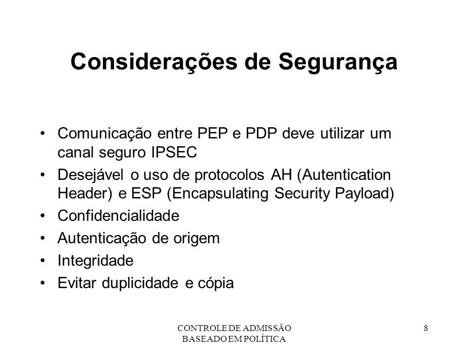 CONTROLE DE ADMISSÃO BASEADO EM POLÍTICA 9 Estado Instalado Estado instalado é o conjunto de recursos, fluxos de dados e reservas de uso de recursos de uma rede.