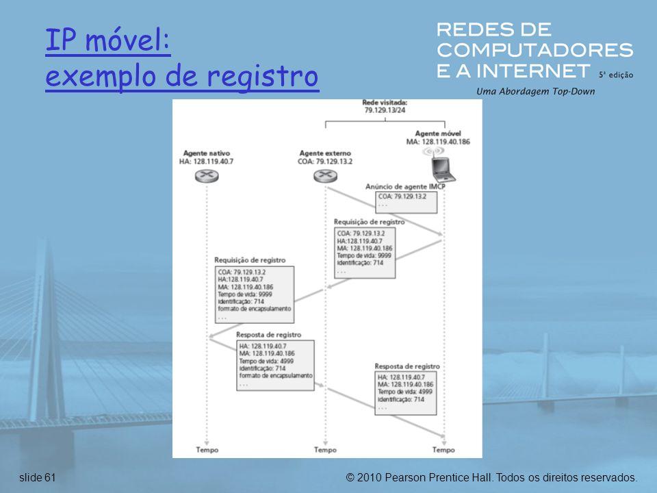 © 2010 Pearson Prentice Hall. Todos os direitos reservados.slide 61 IP móvel: exemplo de registro