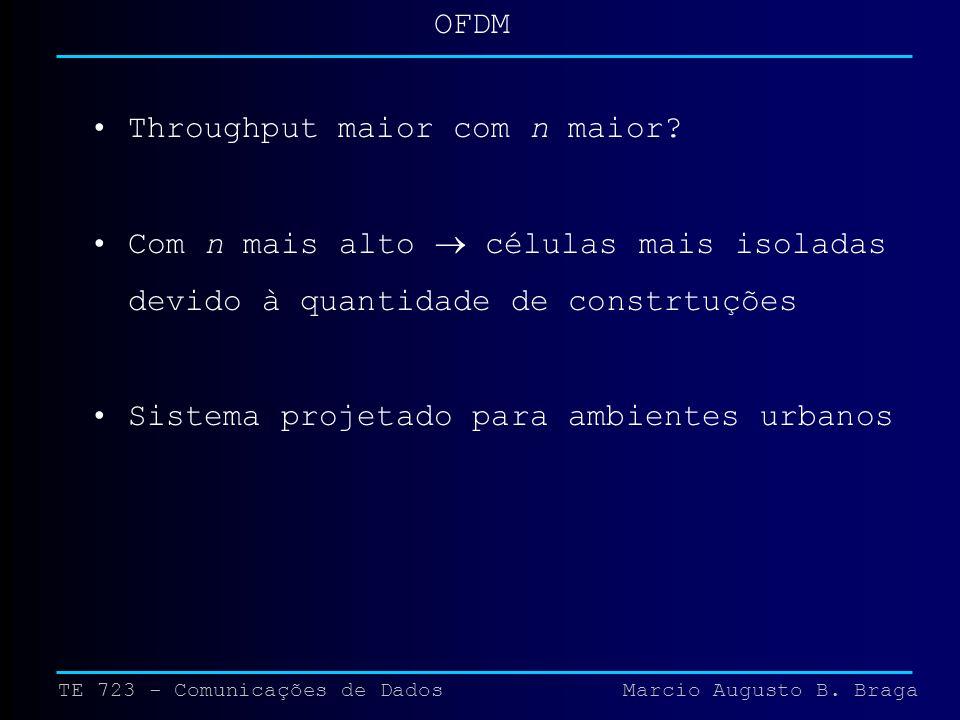 TE 723 - Comunicações de Dados Marcio Augusto B. Braga OFDM Throughput maior com n maior.