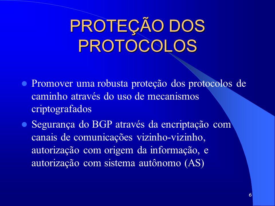 7 PROPOSTA DE TRABALHO Estrutura de Caminho – Conectividade da rede física – Protocolos de rotas de rede – Remetente Protocolos de Rotas – Protocolos de vetores de distância – Protocolos de estado do link – Protocolos de vetores de caminho