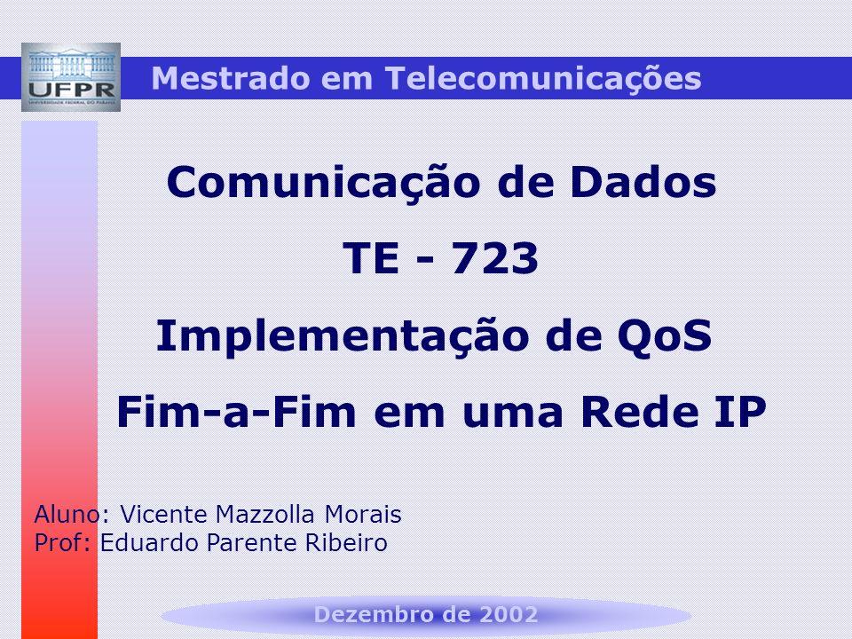 Mestrado em Telecomunicações Comunicação de Dados TE - 723 Implementação de QoS Fim-a-Fim em uma Rede IP Aluno: Vicente Mazzolla Morais Prof: Eduardo