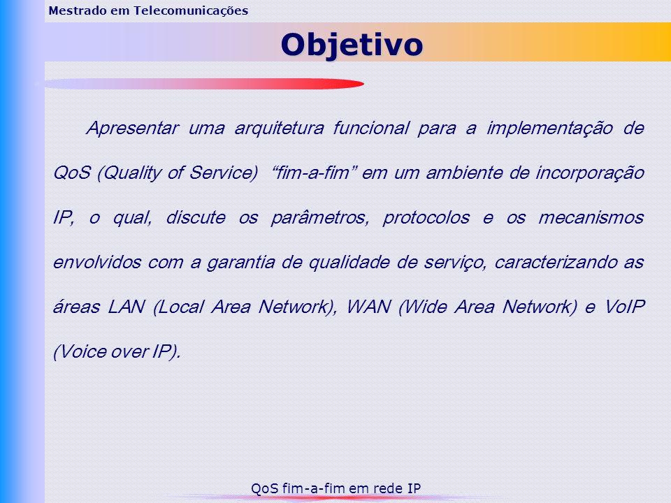 Apresentar uma arquitetura funcional para a implementação de QoS (Quality of Service) fim-a-fim em um ambiente de incorporação IP, o qual, discute os