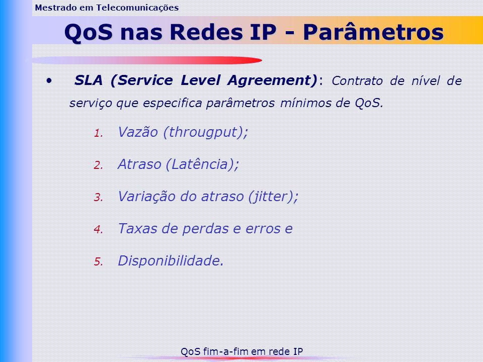 SLA (Service Level Agreement): Contrato de nível de serviço que especifica parâmetros mínimos de QoS. 1. Vazão (througput); 2. Atraso (Latência); 3. V