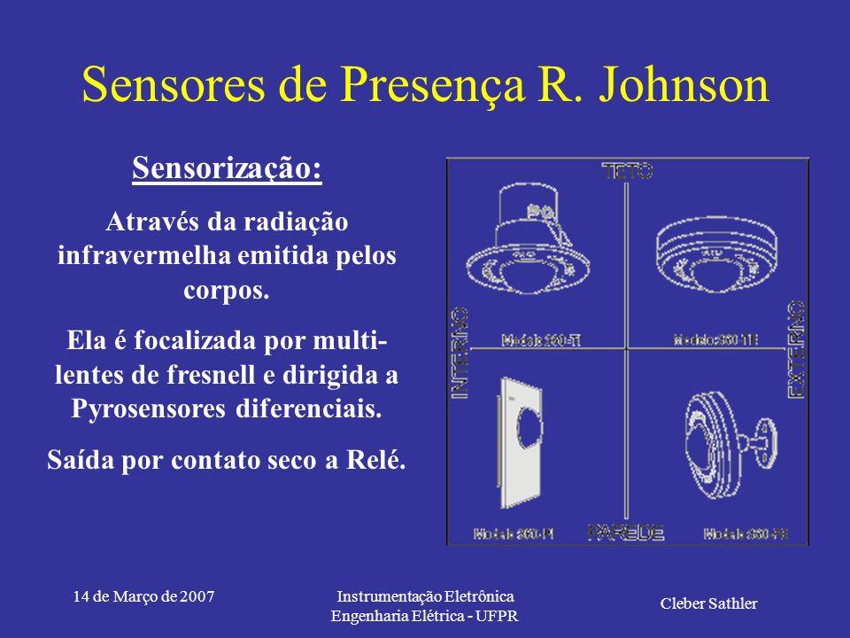 14 de Março de 2007Instrumentação Eletrônica Engenharia Elétrica - UFPR Sensores de Presença R. Johnson Cleber Sathler Instrumentação Eletrônica TE 14