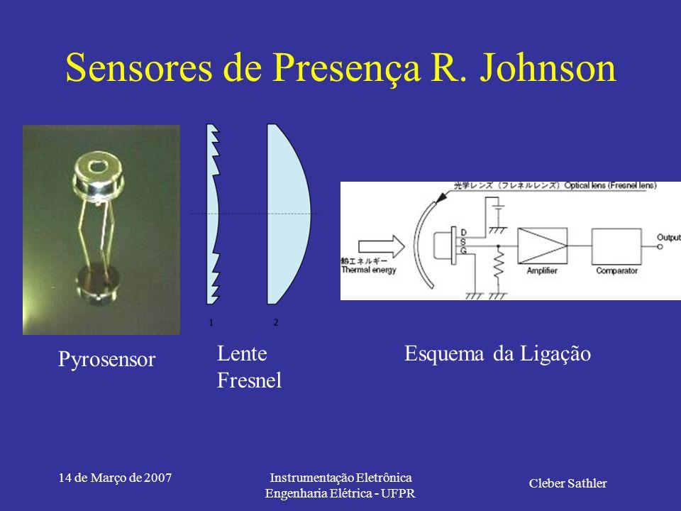 14 de Março de 2007Instrumentação Eletrônica Engenharia Elétrica - UFPR Sensores de Presença R. Johnson Cleber Sathler Sensorização: Através da radiaç