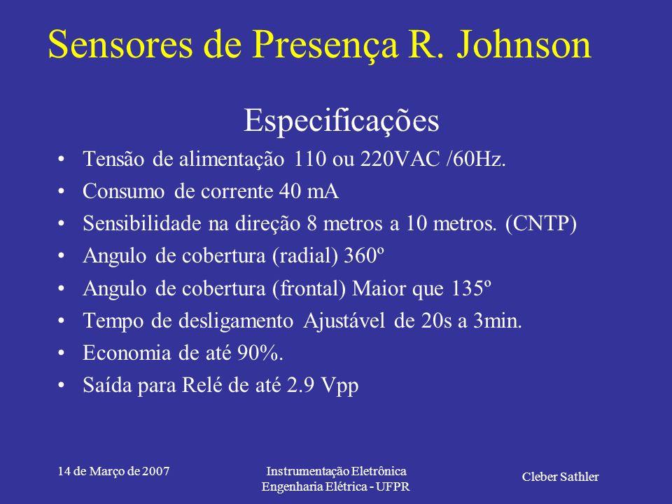 14 de Março de 2007Instrumentação Eletrônica Engenharia Elétrica - UFPR Sensores de Presença R. Johnson Cleber Sathler Pyrosensor Lente Fresnel Esquem