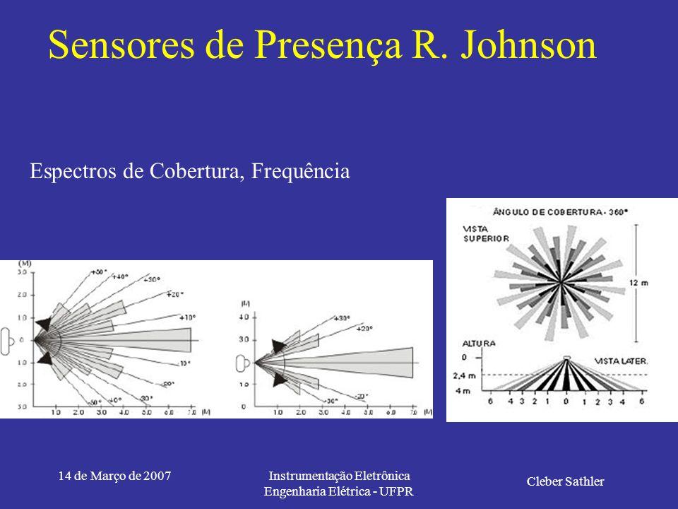 14 de Março de 2007Instrumentação Eletrônica Engenharia Elétrica - UFPR Sensores de Presença R. Johnson Especificações Tensão de alimentação 110 ou 22