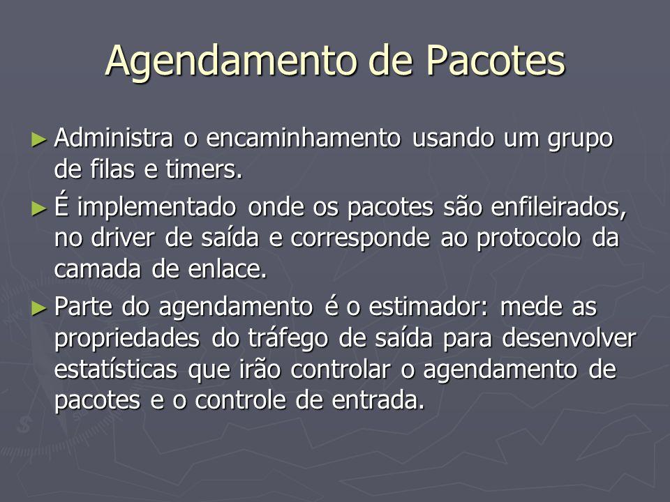 Agendamento de Pacotes Administra o encaminhamento usando um grupo de filas e timers.