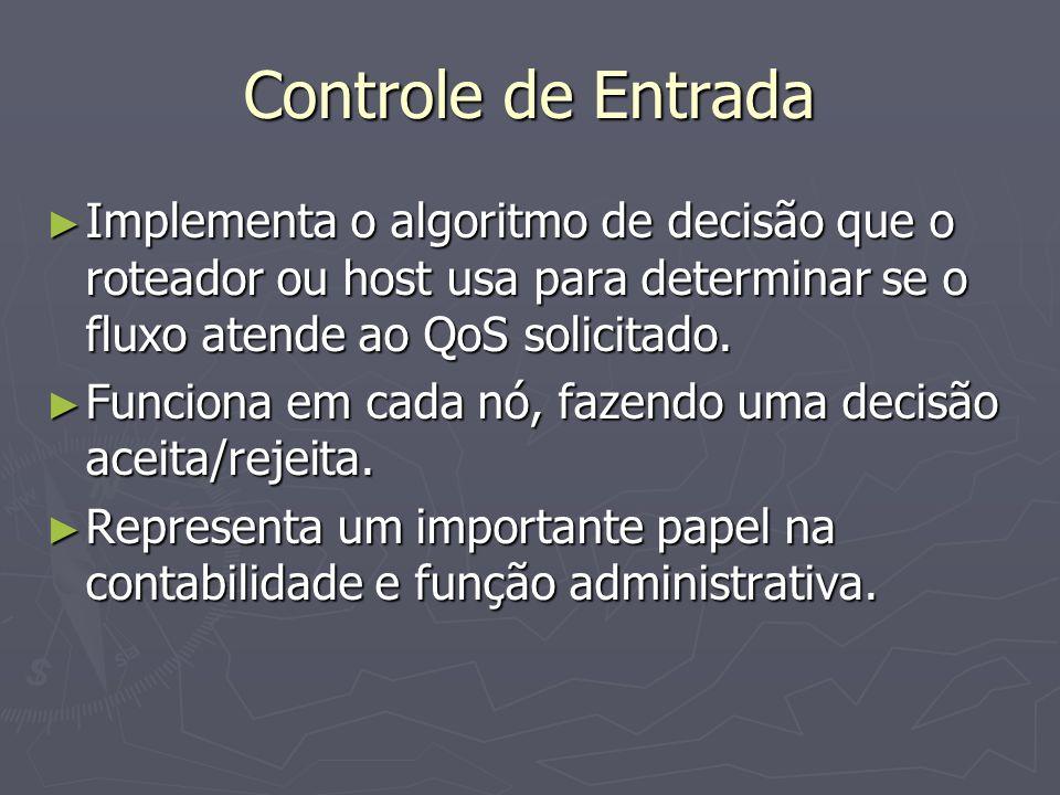 Controle de Entrada Implementa o algoritmo de decisão que o roteador ou host usa para determinar se o fluxo atende ao QoS solicitado.