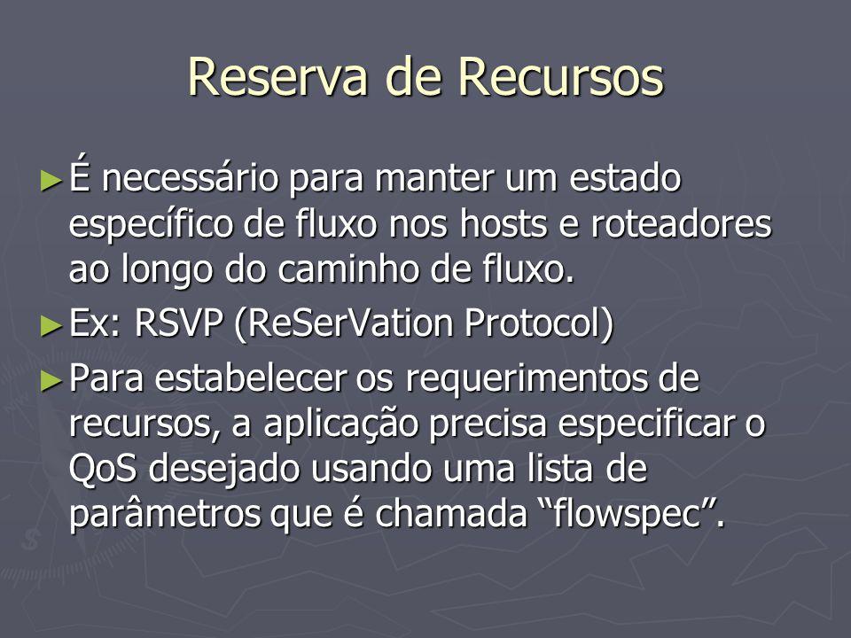 Reserva de Recursos É necessário para manter um estado específico de fluxo nos hosts e roteadores ao longo do caminho de fluxo.
