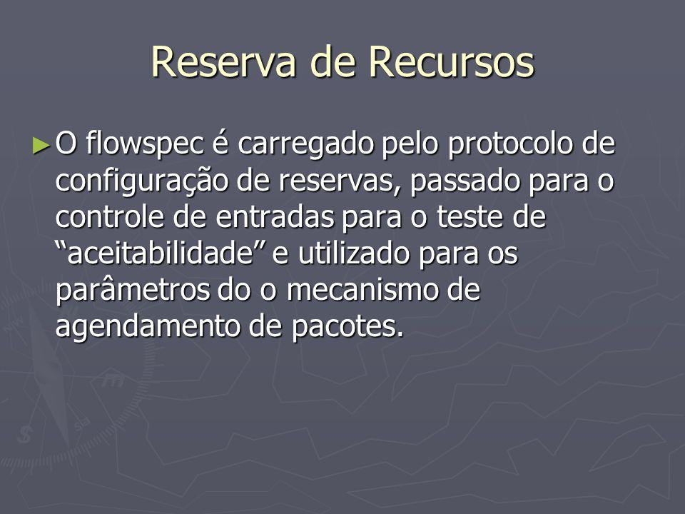Reserva de Recursos O flowspec é carregado pelo protocolo de configuração de reservas, passado para o controle de entradas para o teste de aceitabilidade e utilizado para os parâmetros do o mecanismo de agendamento de pacotes.