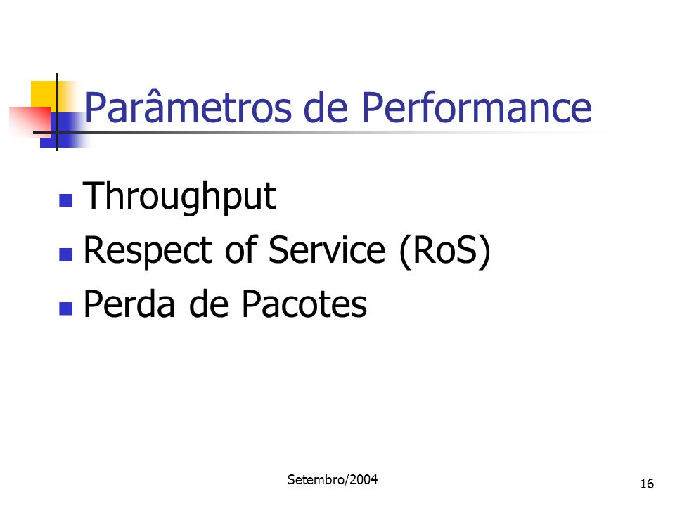 Setembro/2004 16 Throughput Respect of Service (RoS) Perda de Pacotes Parâmetros de Performance