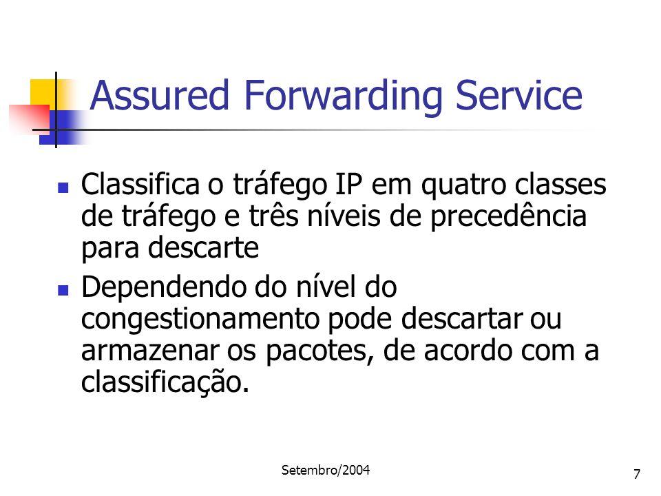Setembro/2004 7 Classifica o tráfego IP em quatro classes de tráfego e três níveis de precedência para descarte Dependendo do nível do congestionament