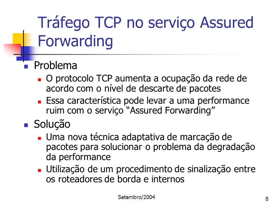 Setembro/2004 8 Tráfego TCP no serviço Assured Forwarding Problema O protocolo TCP aumenta a ocupação da rede de acordo com o nível de descarte de pac