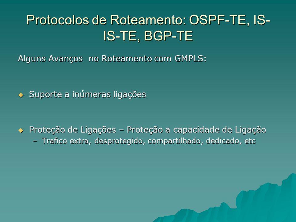 Protocolos de Roteamento: OSPF-TE, IS- IS-TE, BGP-TE Alguns Avanços no Roteamento com GMPLS: Suporte a inúmeras ligações Suporte a inúmeras ligações Proteção de Ligações – Proteção a capacidade de Ligação Proteção de Ligações – Proteção a capacidade de Ligação –Trafico extra, desprotegido, compartilhado, dedicado, etc