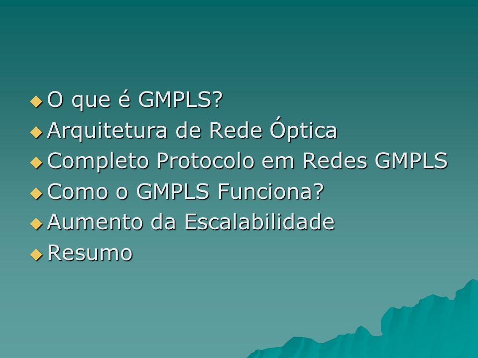 O que é GMPLS? O que é GMPLS? Arquitetura de Rede Óptica Arquitetura de Rede Óptica Completo Protocolo em Redes GMPLS Completo Protocolo em Redes GMPL