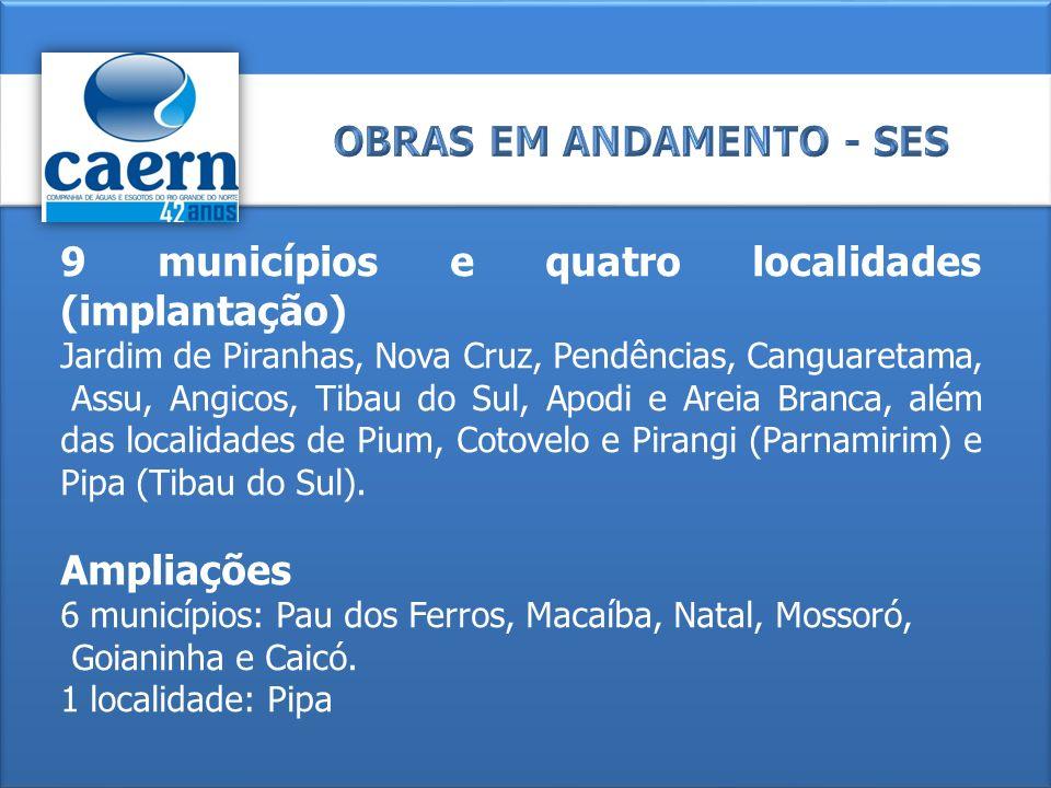 9 municípios e quatro localidades (implantação) Jardim de Piranhas, Nova Cruz, Pendências, Canguaretama, Assu, Angicos, Tibau do Sul, Apodi e Areia Br