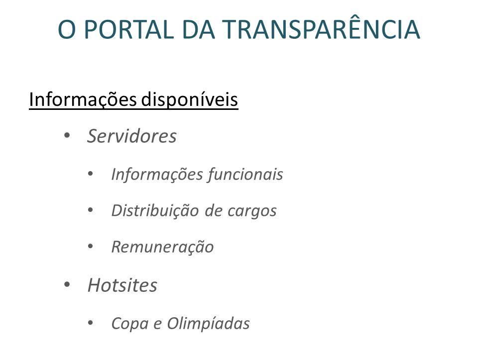 O PORTAL DA TRANSPARÊNCIA Informações disponíveis Servidores Informações funcionais Distribuição de cargos Remuneração Hotsites Copa e Olimpíadas