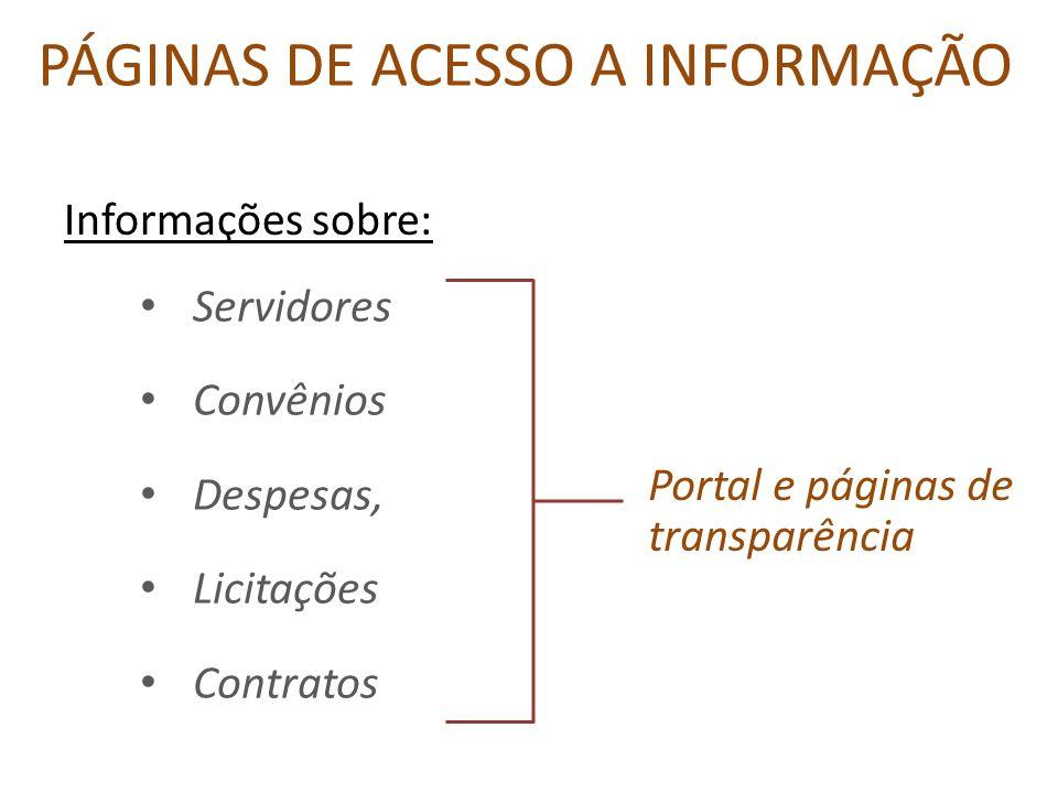 PÁGINAS DE ACESSO A INFORMAÇÃO Informações sobre: Servidores Convênios Despesas, Licitações Contratos Portal e páginas de transparência