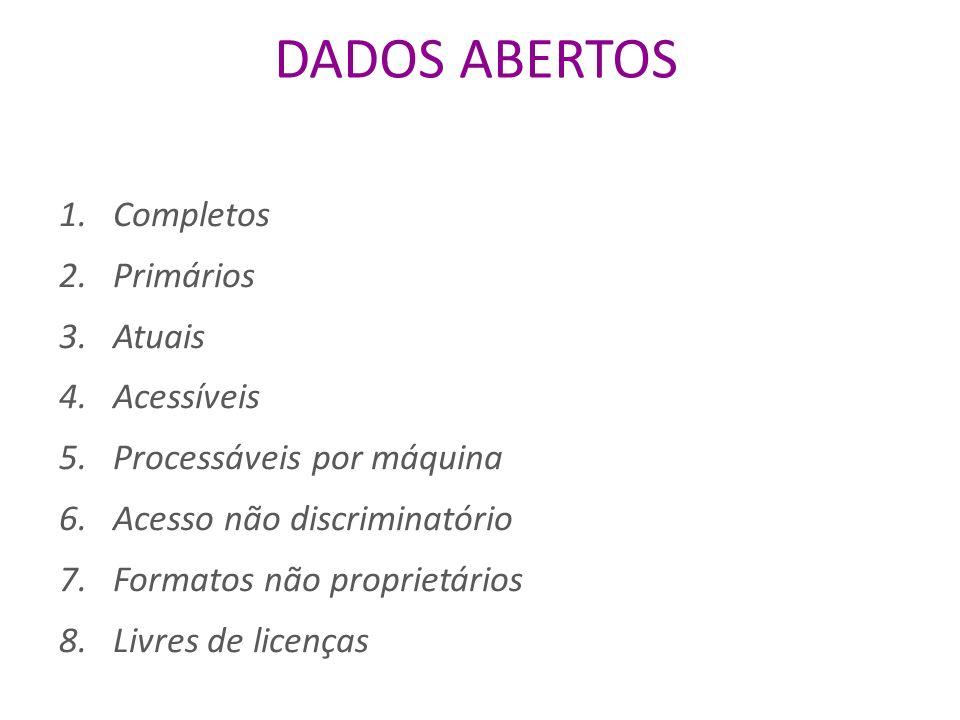 DADOS ABERTOS 1.Completos 2.Primários 3.Atuais 4.Acessíveis 5.Processáveis por máquina 6.Acesso não discriminatório 7.Formatos não proprietários 8.Livres de licenças