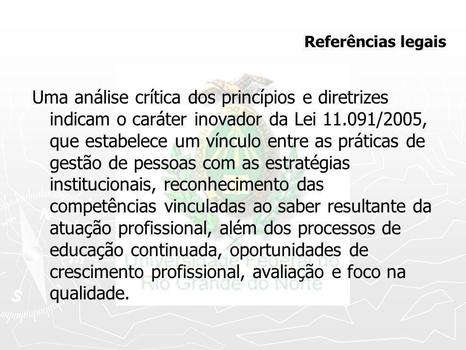 Referências legais Uma análise crítica dos princípios e diretrizes indicam o caráter inovador da Lei 11.091/2005, que estabelece um vínculo entre as p