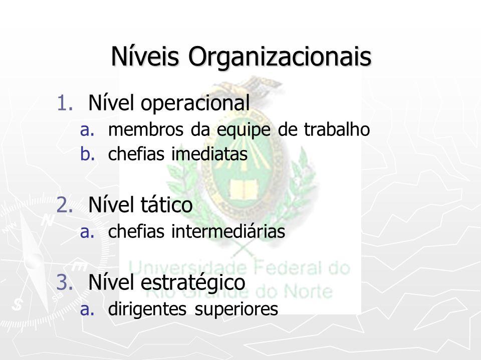 Níveis Organizacionais 1. 1.Nível operacional a. a.membros da equipe de trabalho b. b.chefias imediatas 2. 2.Nível tático a. a.chefias intermediárias