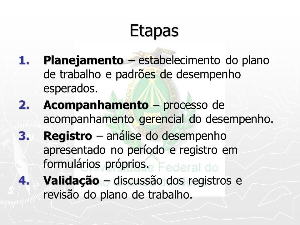 Etapas 1.Planejamento – 1.Planejamento – estabelecimento do plano de trabalho e padrões de desempenho esperados. 2.Acompanhamento –. 2.Acompanhamento