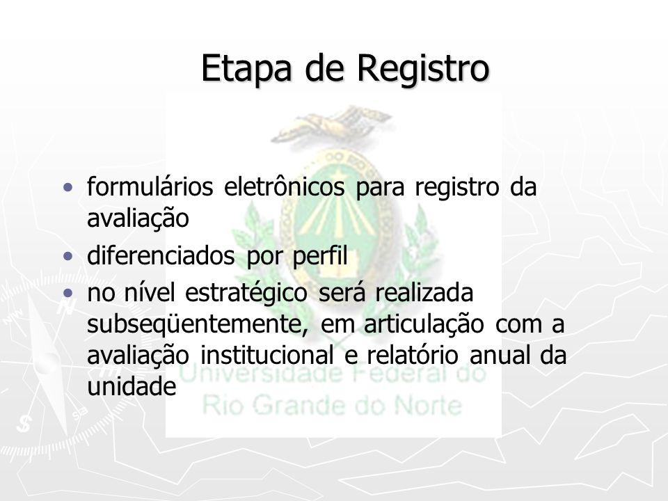 Etapa de Registro formulários eletrônicos para registro da avaliação diferenciados por perfil no nível estratégico será realizada subseqüentemente, em