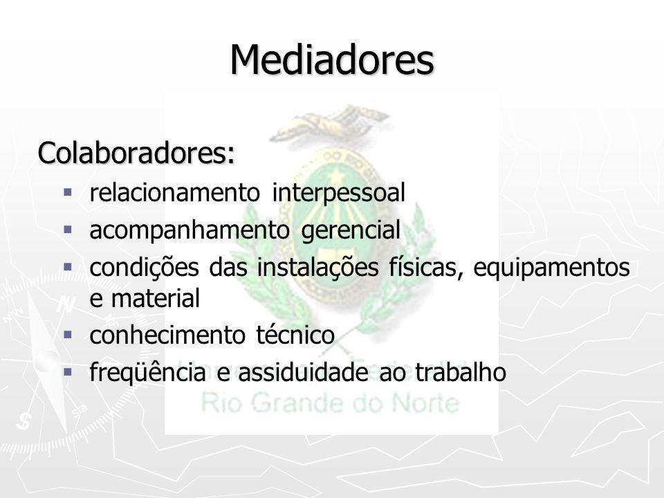 Mediadores Colaboradores: Colaboradores: relacionamento interpessoal acompanhamento gerencial condições das instalações físicas, equipamentos e materi