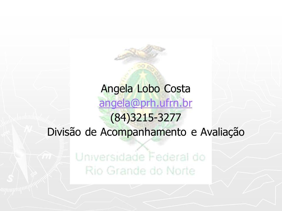 Angela Lobo Costa angela@prh.ufrn.br (84)3215-3277 Divisão de Acompanhamento e Avaliação