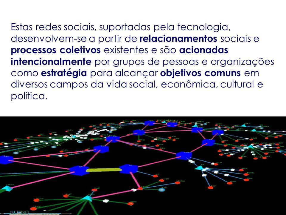 Estas redes sociais, suportadas pela tecnologia, desenvolvem-se a partir de relacionamentos sociais e processos coletivos existentes e são acionadas i