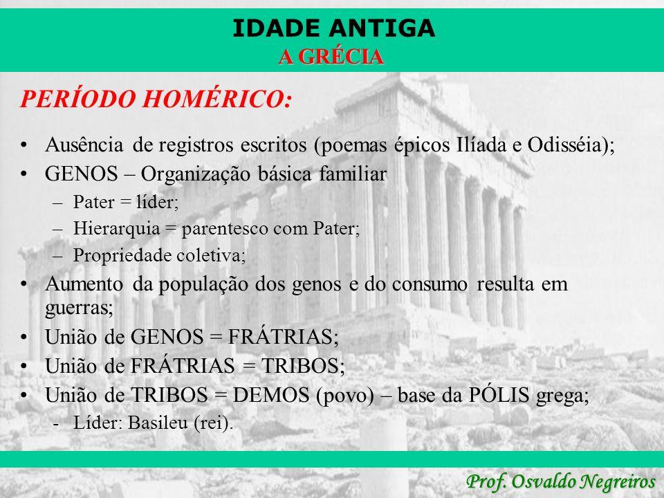 IDADE ANTIGA Prof. Osvaldo Negreiros A GRÉCIA PERÍODO HOMÉRICO: Ausência de registros escritos (poemas épicos Ilíada e Odisséia); GENOS – Organização