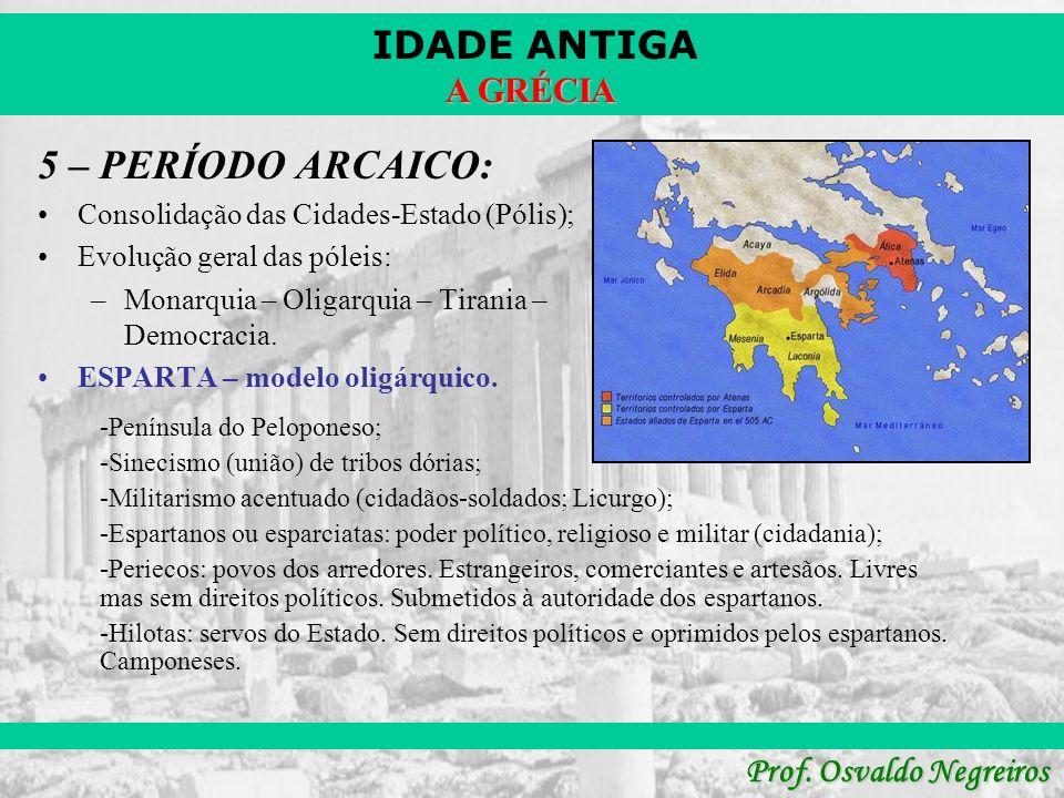 IDADE ANTIGA Prof. Osvaldo Negreiros A GRÉCIA 5 – PERÍODO ARCAICO: Consolidação das Cidades-Estado (Pólis); Evolução geral das póleis: –Monarquia – Ol