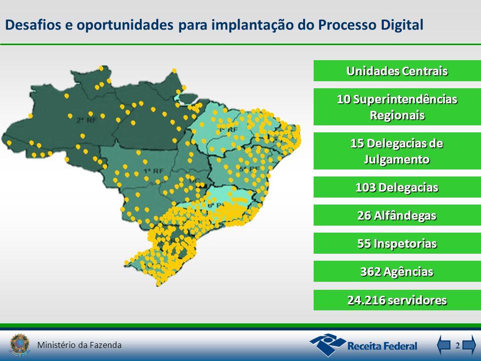 2 Desafios e oportunidades para implantação do Processo Digital 24.216 servidores 103 Delegacias 26 Alfândegas 55 Inspetorias 362 Agências Unidades Ce