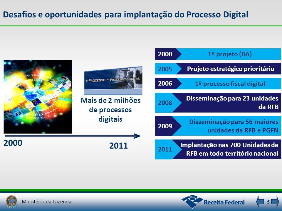 5 1º projeto (BA)2000 Projeto estratégico prioritário 2005 1º processo fiscal digital 2006 Disseminação para 23 unidades da RFB 2008 Disseminação para