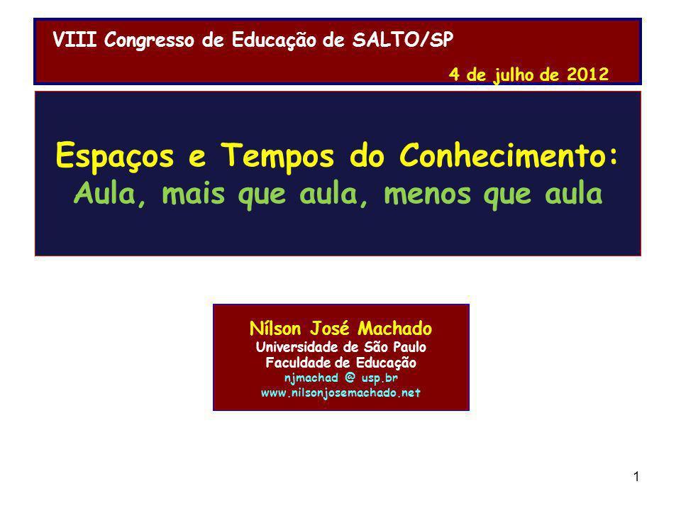Competências do Professor: Nílson José Machado Universidade de São Paulo Faculdade de Educação njmachad @ usp.br www.nilsonjosemachado.net Espaços e T