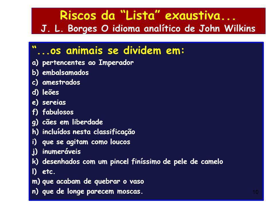 Riscos da Lista exaustiva... J. L. Borges O idioma analítico de John Wilkins...os animais se dividem em: a)pertencentes ao Imperador b)embalsamados c)