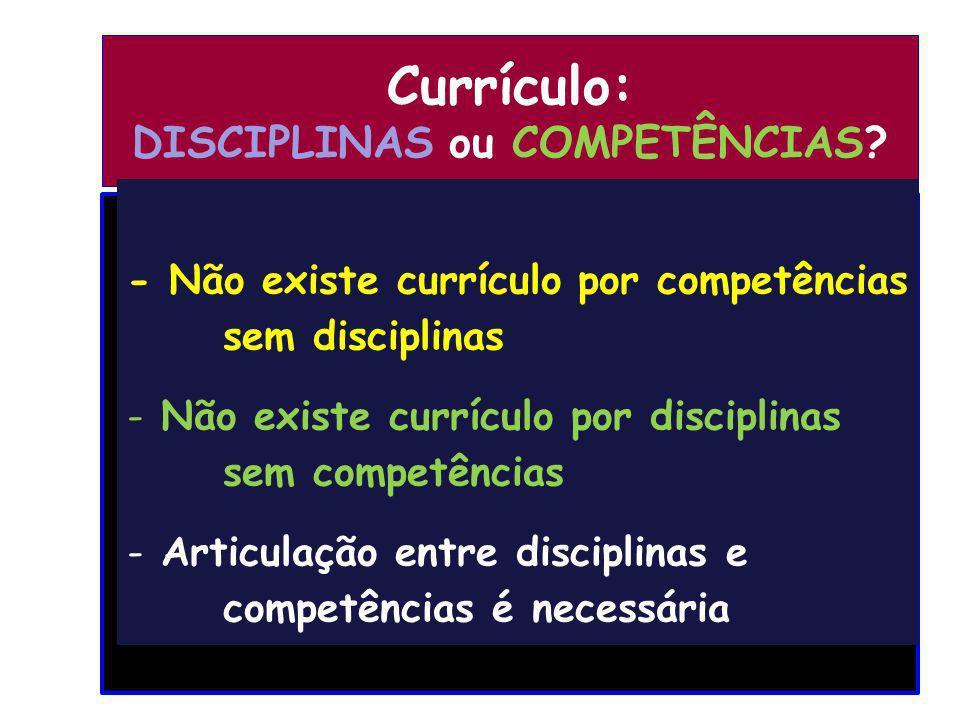 Currículo: DISCIPLINAS ou COMPETÊNCIAS? - Não existe currículo por competências sem disciplinas - Não existe currículo por disciplinas sem competência