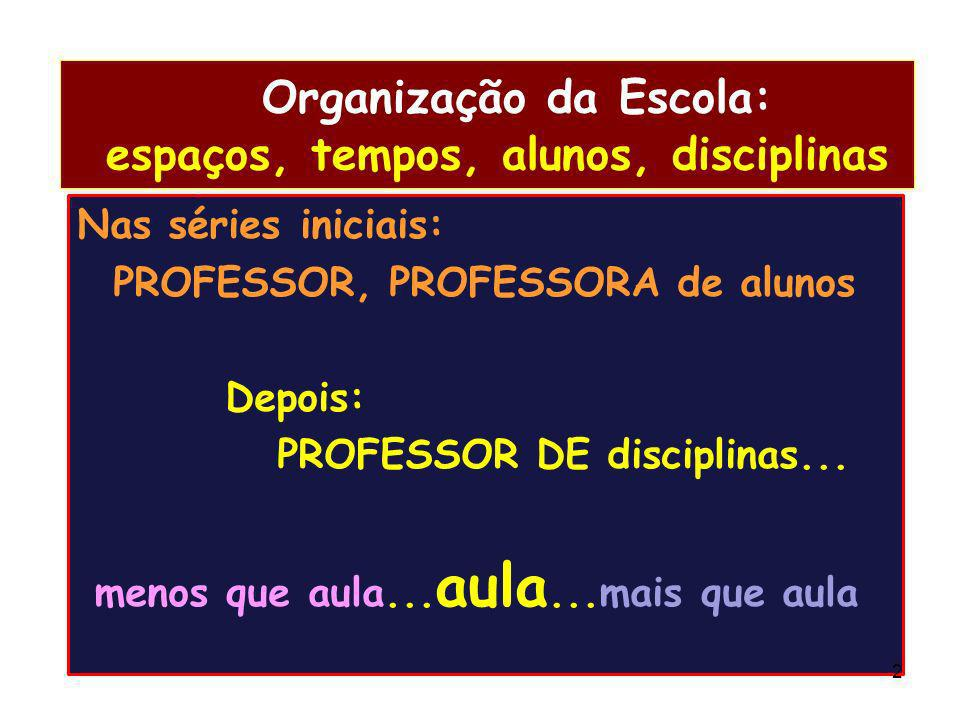 Organização da Escola: espaços, tempos, alunos, disciplinas Nas séries iniciais: PROFESSOR, PROFESSORA de alunos Depois: PROFESSOR DE disciplinas... m