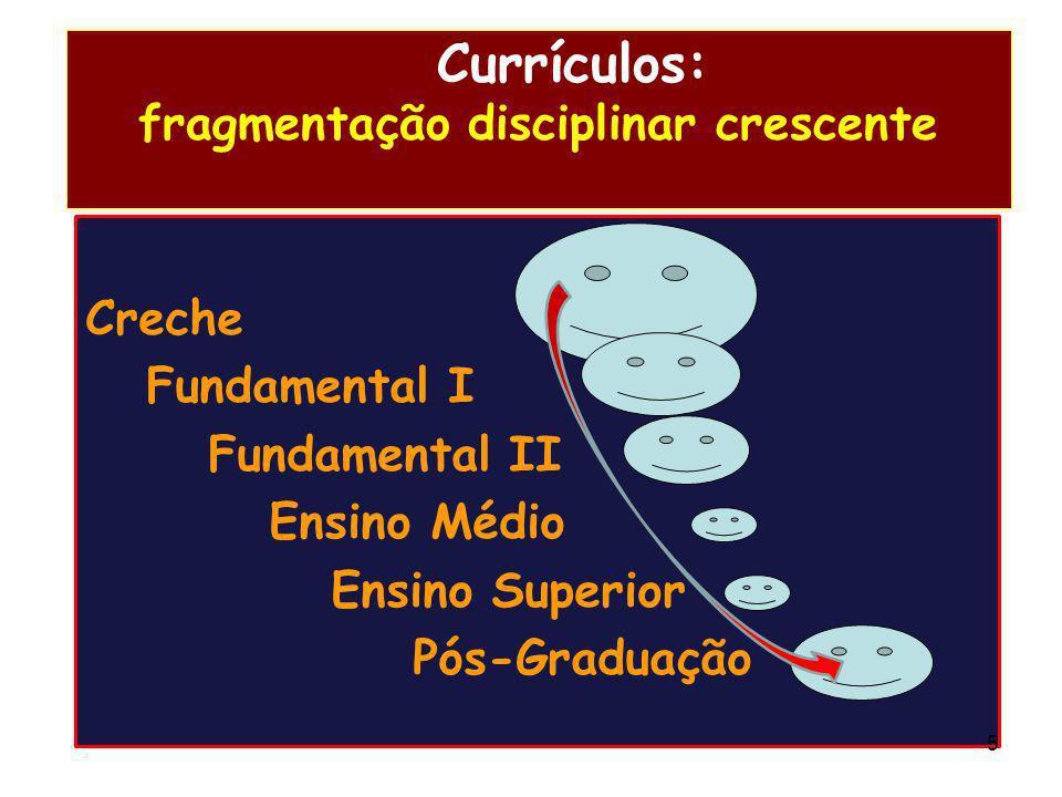 Currículos: fragmentação disciplinar crescente Creche Fundamental I Fundamental II Ensino Médio Ensino Superior Pós-Graduação 5