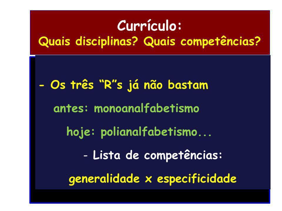 Currículo: Quais disciplinas? Quais competências? - Os três Rs já não bastam antes: monoanalfabetismo hoje: polianalfabetismo... - Lista de competênci