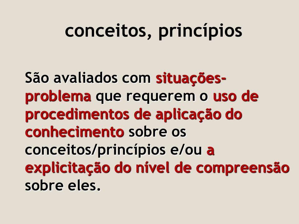 conceitos, princípios São avaliados com situações- problema que requerem o uso de procedimentos de aplicação do conhecimento sobre os conceitos/princí