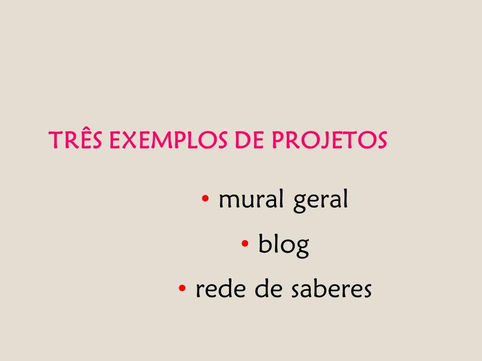 TRÊS EXEMPLOS DE PROJETOS mural geral blog rede de saberes