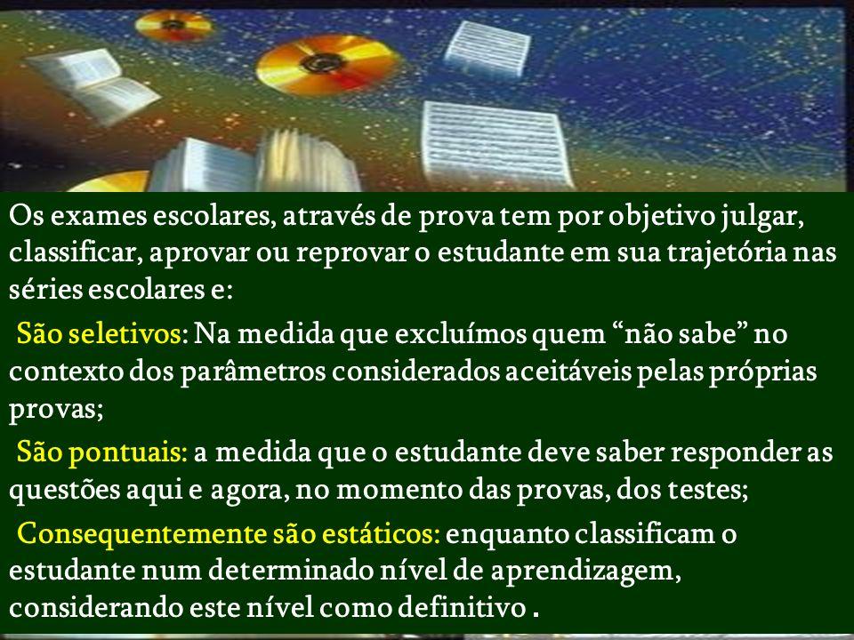 Baseado nas contribuições de Cipriano Carlos Luckesi em Avaliação da aprendizagem escolar : uma opção de vida : Hoje, nas escolas brasileiras, pública