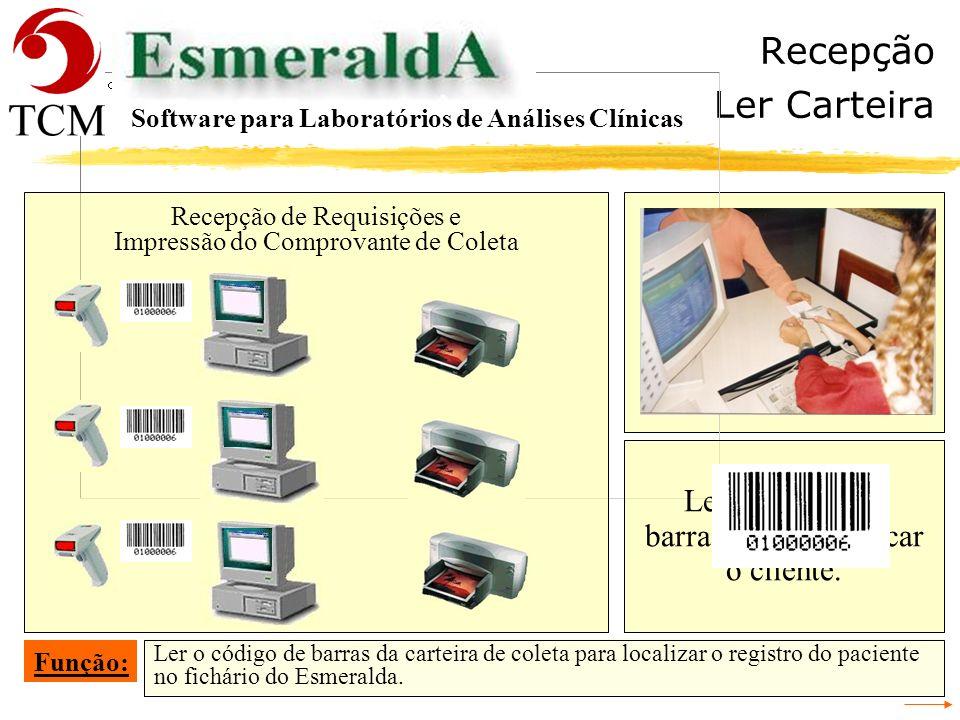 Recepção Carteira Recepção de Requisições e Impressão do Comprovante de Coleta O cliente apresenta a carteira de coleta. Função: Software para Laborat
