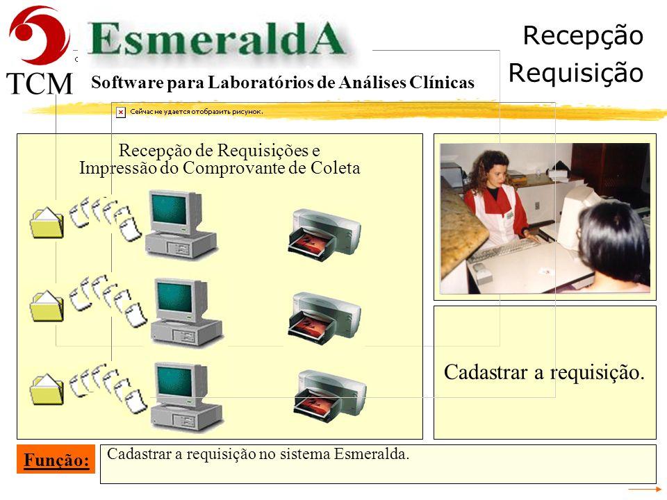 Recepção Ler Carteira Ler o código de barras da carteira de coleta para localizar o registro do paciente no fichário do Esmeralda. Função: Software pa