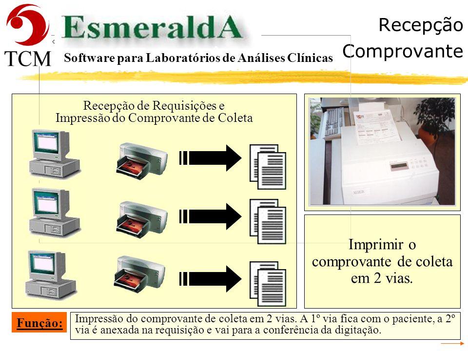 Recepção Requisição Cadastrar a requisição no sistema Esmeralda. Função: Software para Laboratórios de Análises Clínicas Cadastrar a requisição. Recep