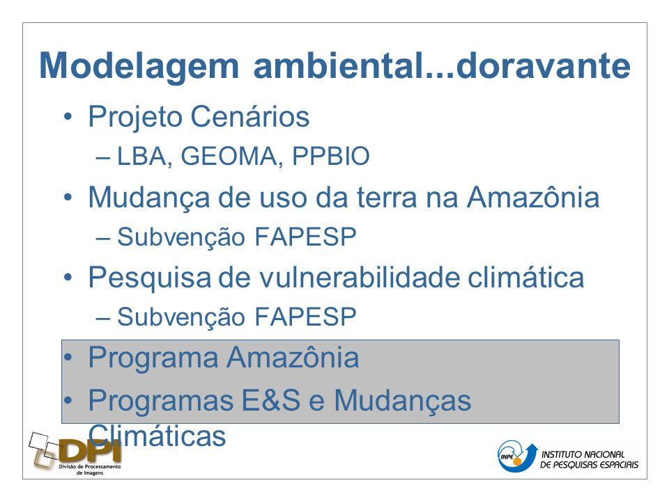 Modelagem ambiental...doravante Projeto Cenários –LBA, GEOMA, PPBIO Mudança de uso da terra na Amazônia –Subvenção FAPESP Pesquisa de vulnerabilidade climática –Subvenção FAPESP Programa Amazônia Programas E&S e Mudanças Climáticas