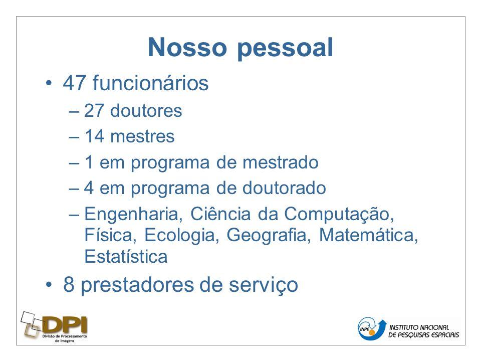 Nosso pessoal 47 funcionários –27 doutores –14 mestres –1 em programa de mestrado –4 em programa de doutorado –Engenharia, Ciência da Computação, Física, Ecologia, Geografia, Matemática, Estatística 8 prestadores de serviço